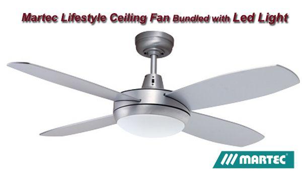 Martec lifestyle 4 blade brushed aluminium finish whalogen light martec lifestyle mini ceiling fan brushed aluminium with plt light aloadofball Choice Image