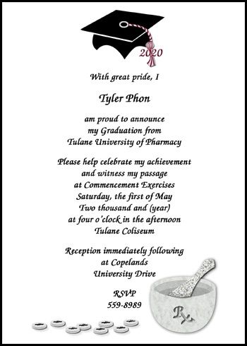 Pharmacy School Graduation Announcements And Invitations At