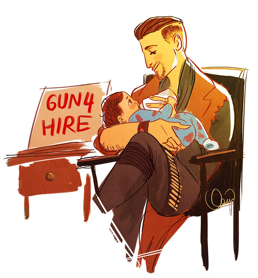 So I Saw This Headcanon In The Maccready Tag About Mac Toting Duncan Around In An Improvised Baby Sling Now I C Fallout Fan Art Fallout Art Maccready Fallout