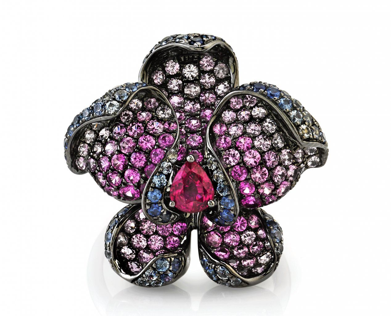 Parade Design pink and blue sapphire orchid ring