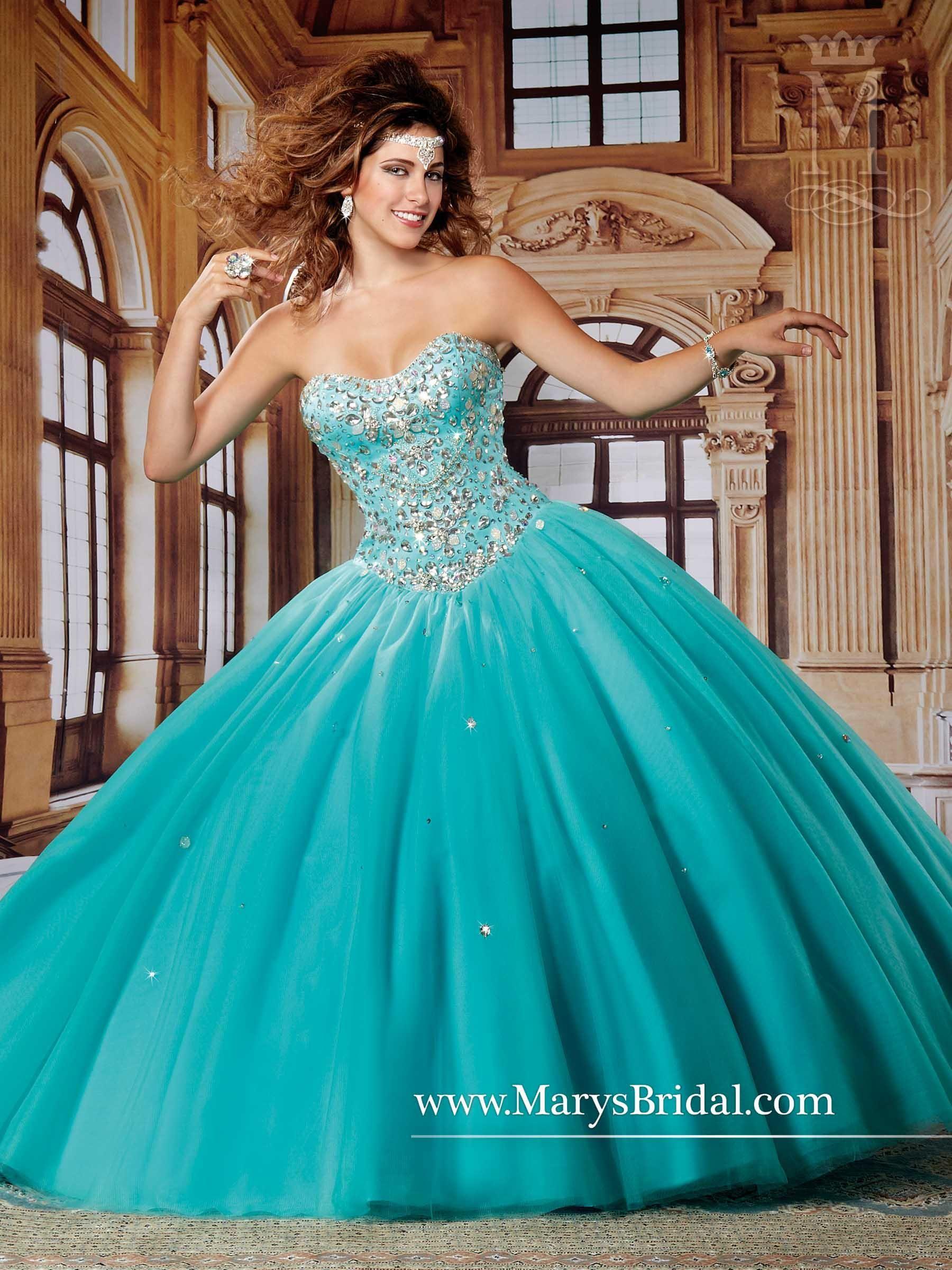 Mary' Aqua Quinceanera Dresses 2015 Fall Sweetheart Neck