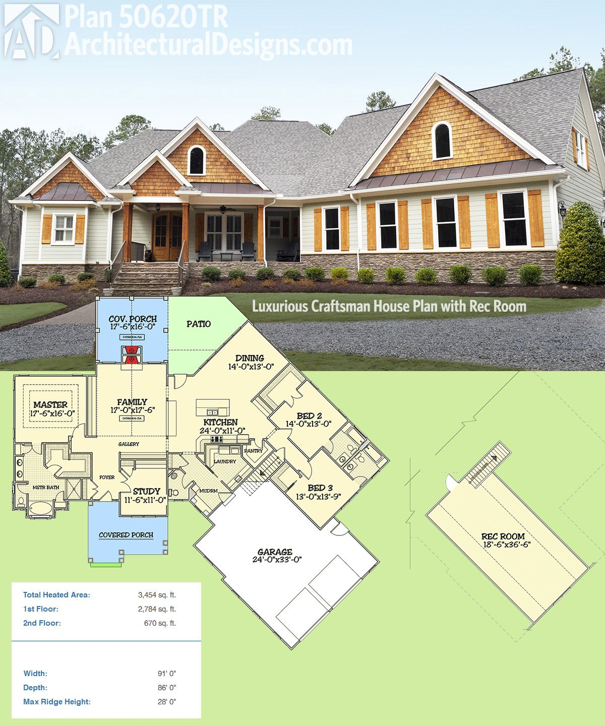 Plan 50620tr luxurious craftsman house plan with rec room 2700 square foot house plans