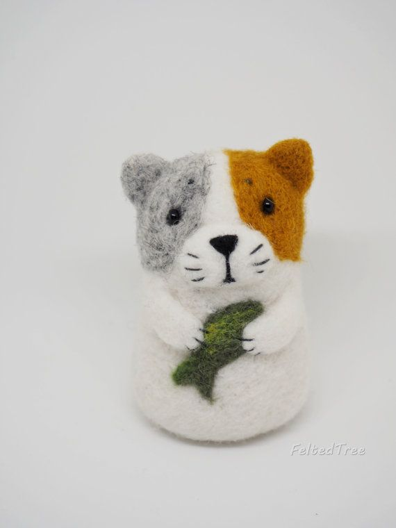 Felt wool toy cat with fish animal cute decoration natural eco handmade