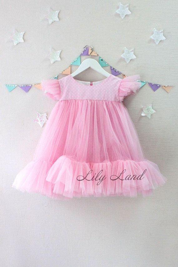 0f092f2a1 Pink Summer Dress Toddler Baby Girls Princess Dress cap Sleeves Tulle Summer  pink Dresses girl dress