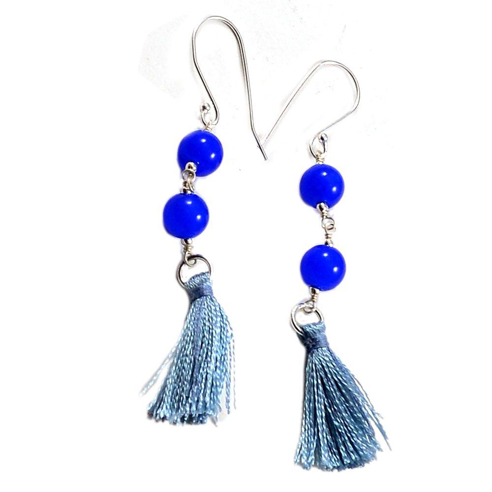 Silvesto India Blue Quartz 925 Sterling Silver Beaded Tassel Earring PG-18129   http://www.amazon.in/dp/B01E8T629Q
