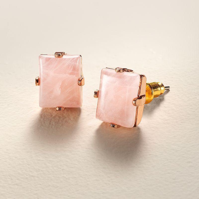 LC Lauren Conrad Runway Collection Pink Quartz Rectangle Stud Earrings