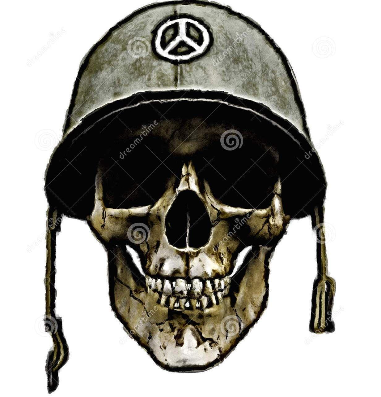 American Army Helmet Dead Soldier Tattoo Design | Bike