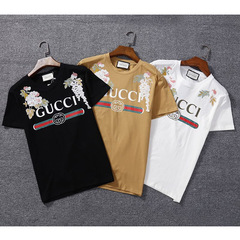 856fabbcc691 Beige Flower Gucci logo printed flowers Embroidered Shirt Cotton  gucci   embroidered  chanel  lv  look  fashion  guccigang  outfit  tshirt  beige   hoodie