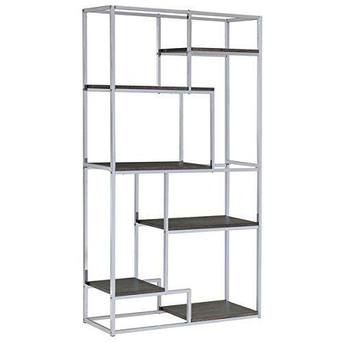 Amazon Modern Bookcase Shelves Rustic Chrome Shelving Unique Bookshelf 100 Satisfaction Guarantee Kitchen Dining