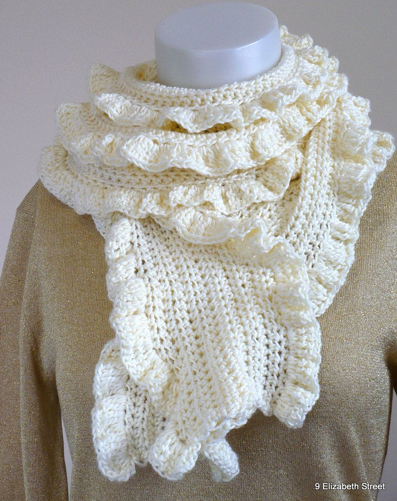 Hand Crocheted Scarf with Ruffle | Knitting | Pinterest