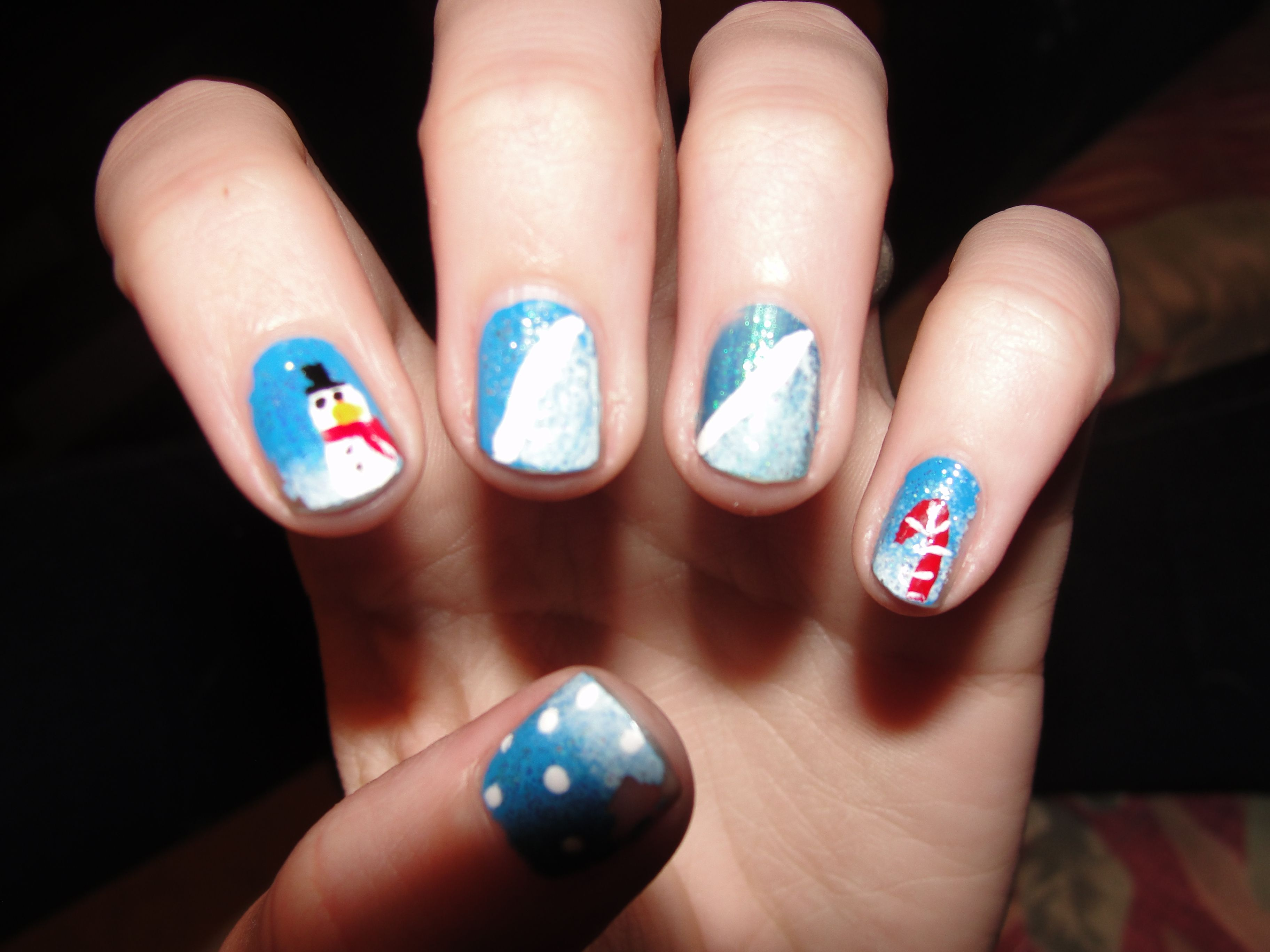 Winter Holiday Nails Done By My 12 Year Old Daughter With Images