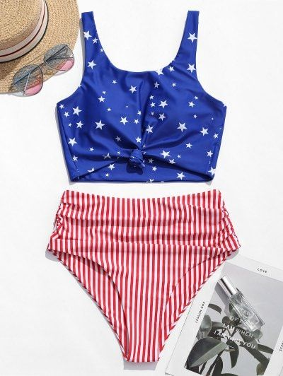 ZAFUL Knot Ruched American Flag Tankini Swimsuit #americanflag