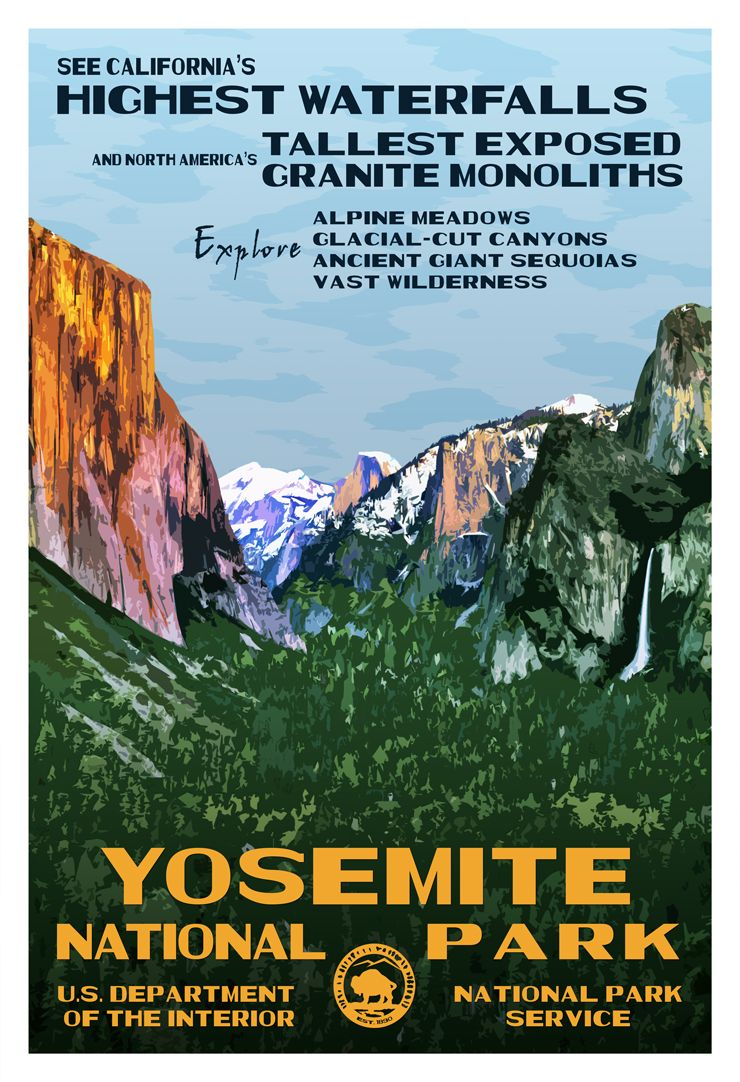 Wandposter Natur Yosemite National Park Highest Waterfalls Wpa Poster Park