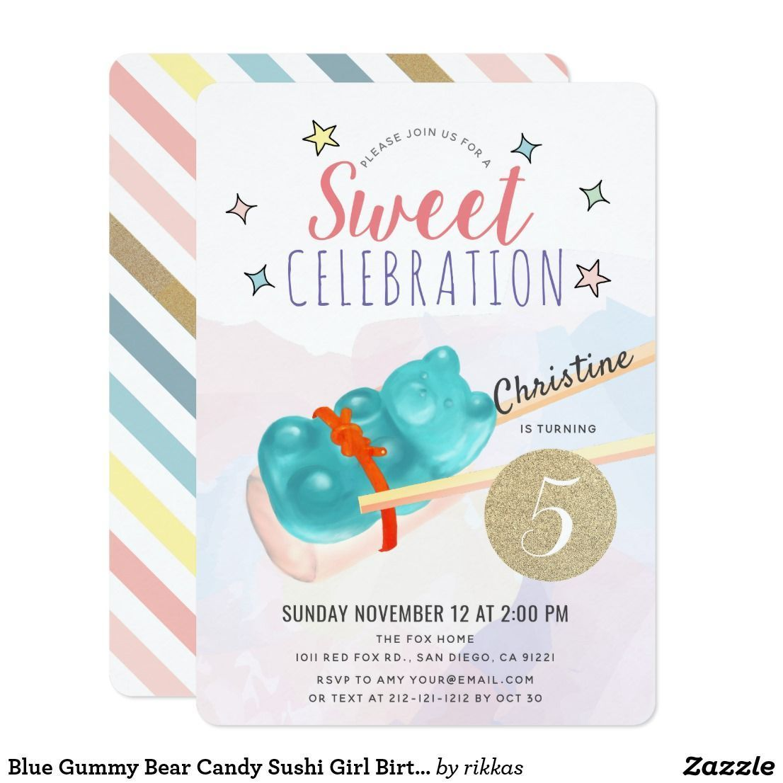 Blue Gummy Bear Candy Sushi Girl Birthday Invitation | Zazzle.com #candysushi Blue Gummy Bear Candy Sushi Girl Birthday Invitation #candysushi Blue Gummy Bear Candy Sushi Girl Birthday Invitation | Zazzle.com #candysushi Blue Gummy Bear Candy Sushi Girl Birthday Invitation #candysushi