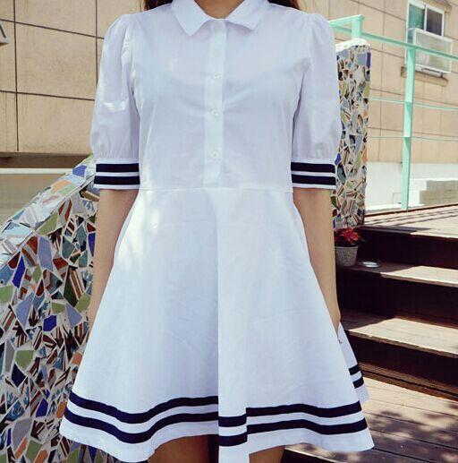 Japanese White Short-sleeved Blouse Dress