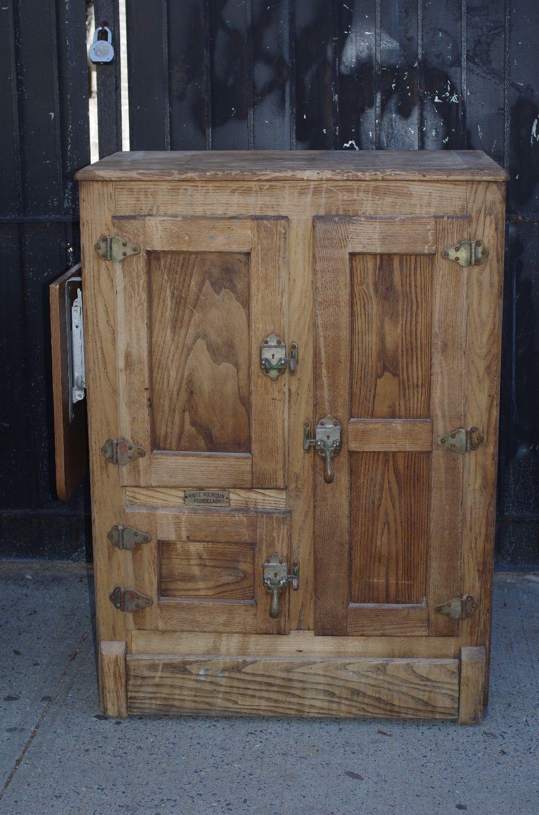 Antique White Mountain Porcelain Refrigerator Solid Oak Wood Ice Box Cabinet Ebay Oak Wood Solid Oak Antique Ice Box