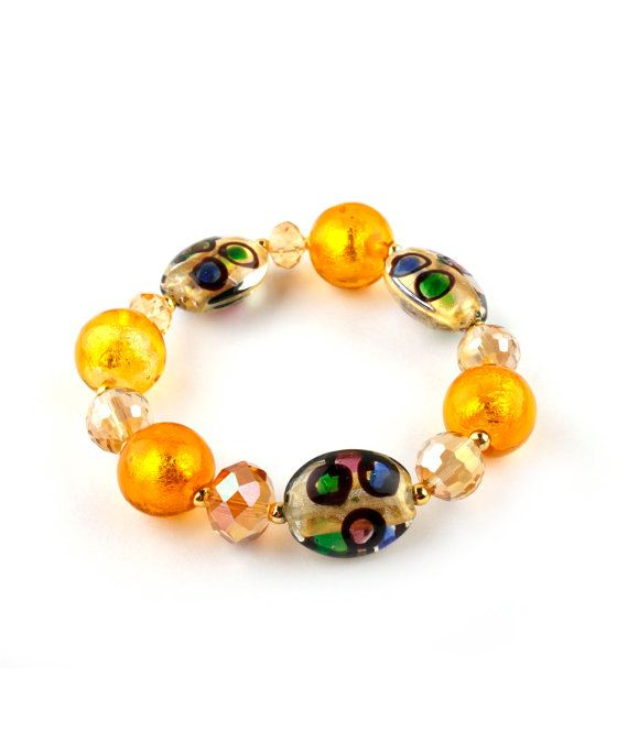 Murano Glass Beaded Bracelet yellow orange gold by EwelinaPas, $20.00