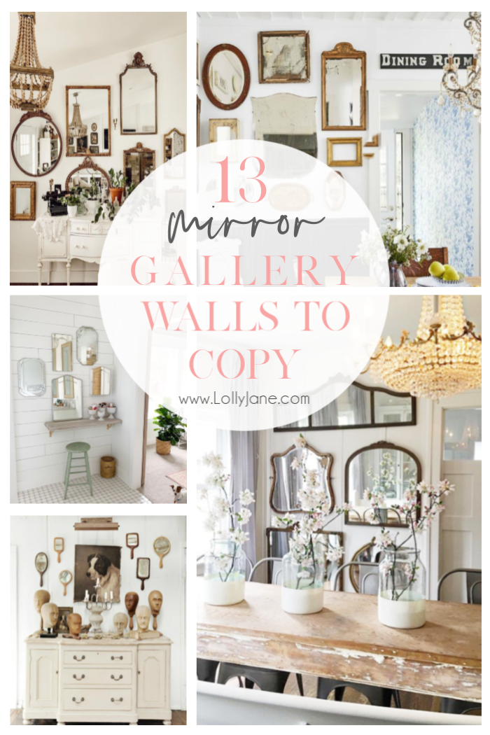 13 Mirrors Gallery Walls Ideas To Copy Lolly Jane Mirror Gallery Wall Mirror Gallery Gallery Wall Living Room