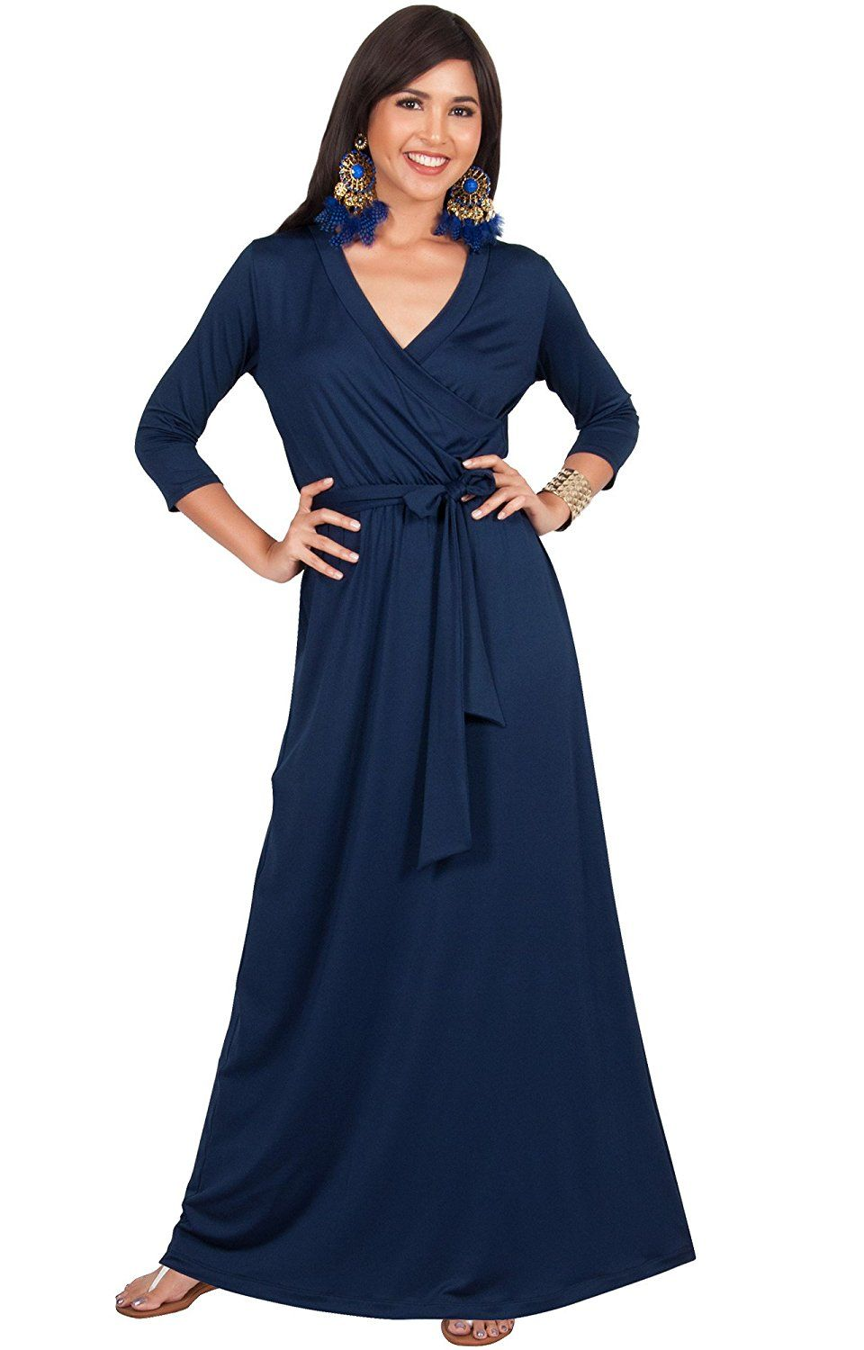 Koh koh womens long sleeve casual cocktail flowy vneck gown maxi