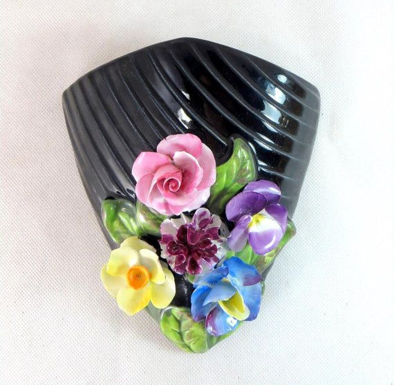 Art Deco Sylvac Vase Vintage Handpainted Applied Flower Glossy