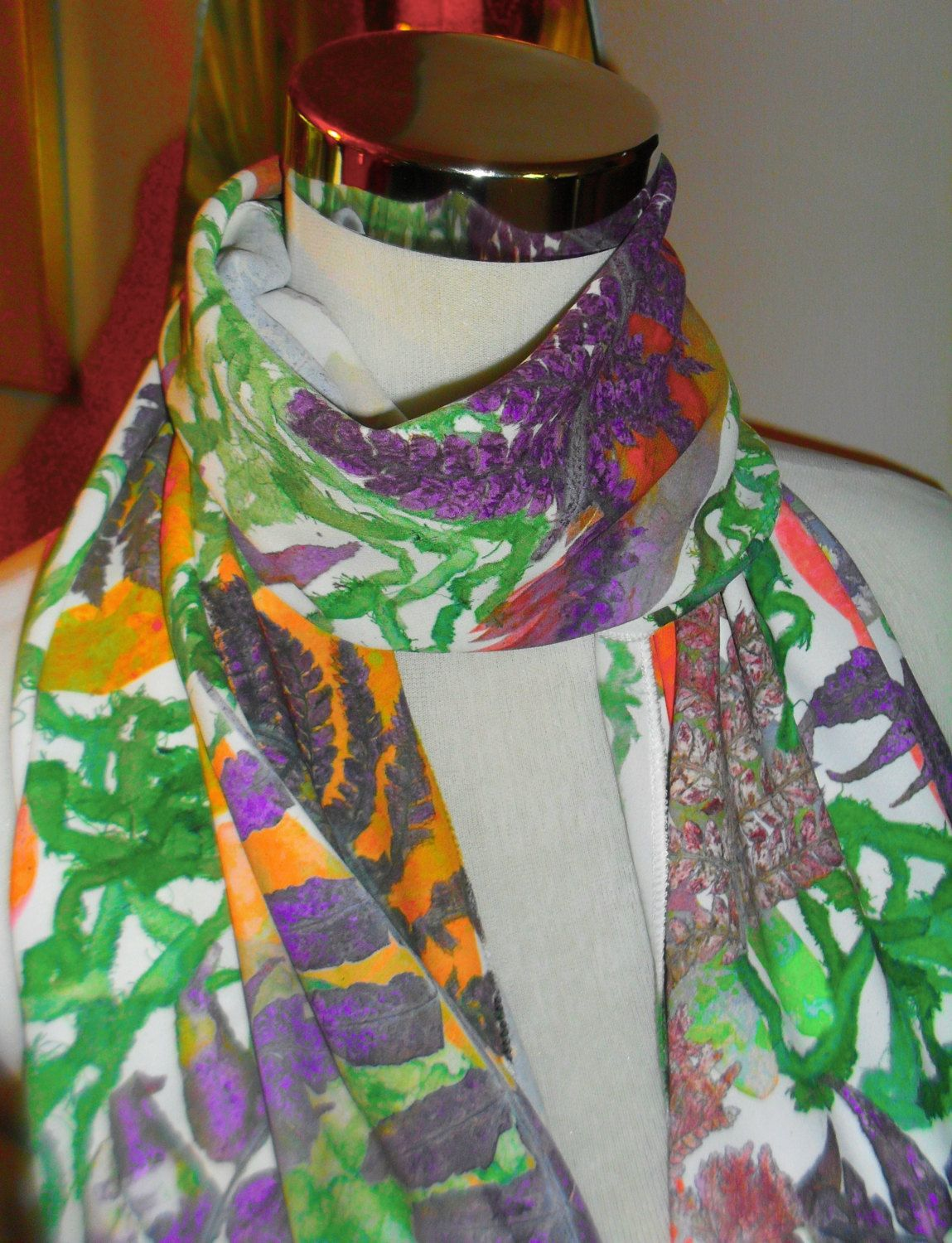 Handmade, hand printed  Leaf Print Scarf by WildeNature on Etsy