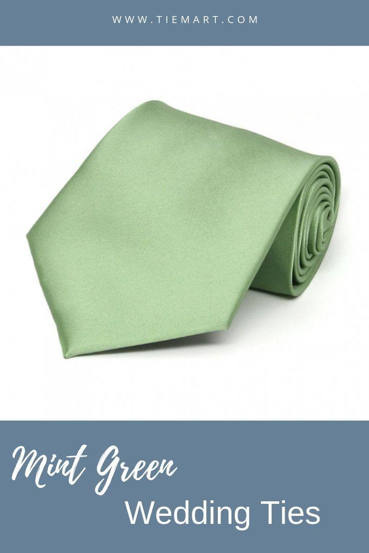 Mint Green Solid Color Necktie   -  Wedding Ties -