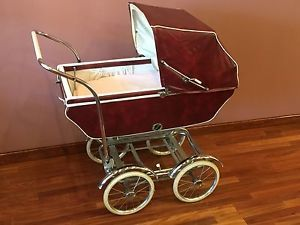 Vintage Burgundy Babyhood Baby Carriage Buggy Stroller By Wonda Chair