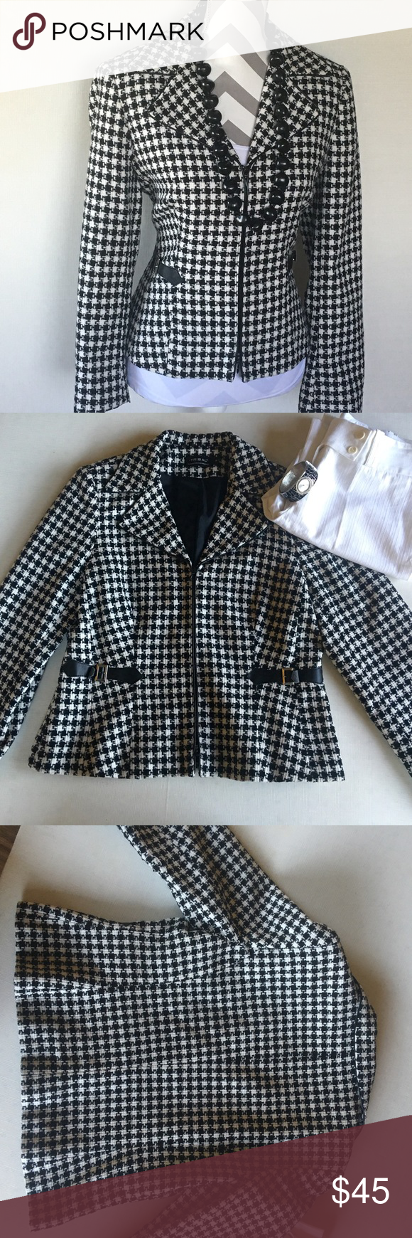 Tribal black/white checker dress  coat This coat is co cute and warm. Looks amazing with just about anything. In excellent condition. No flaws. Fully lined. Zips up. Tribal Jackets & Coats Blazers