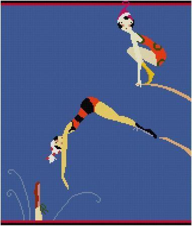 0 point de croix femmes plongeant dans la piscine - cross stitch ladies diving in the swimming pool