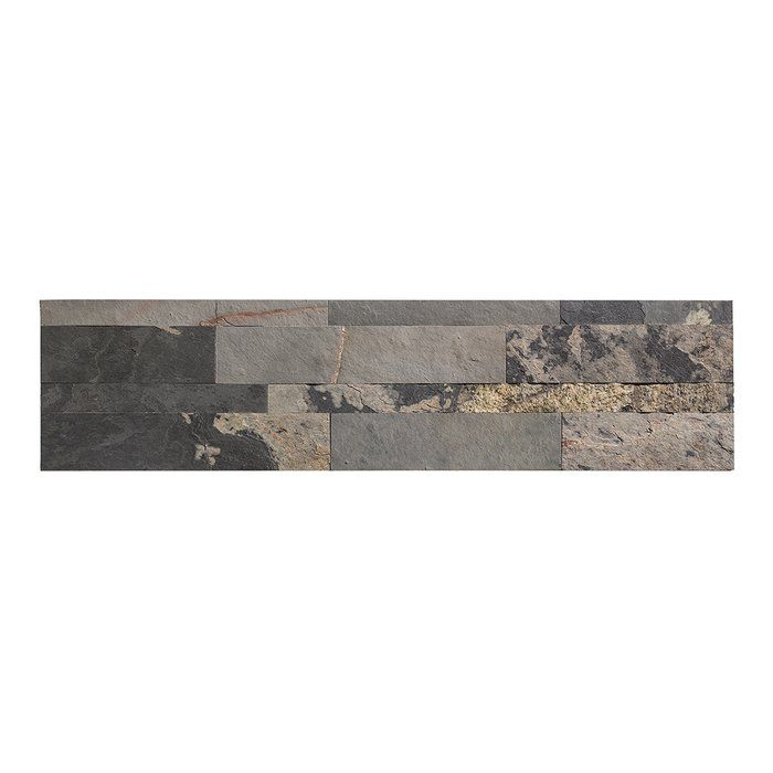 "Adhesive Accent Wall Slate: 6"" X 24"" Stone Composite Peel & Stick Mosaic Tile"