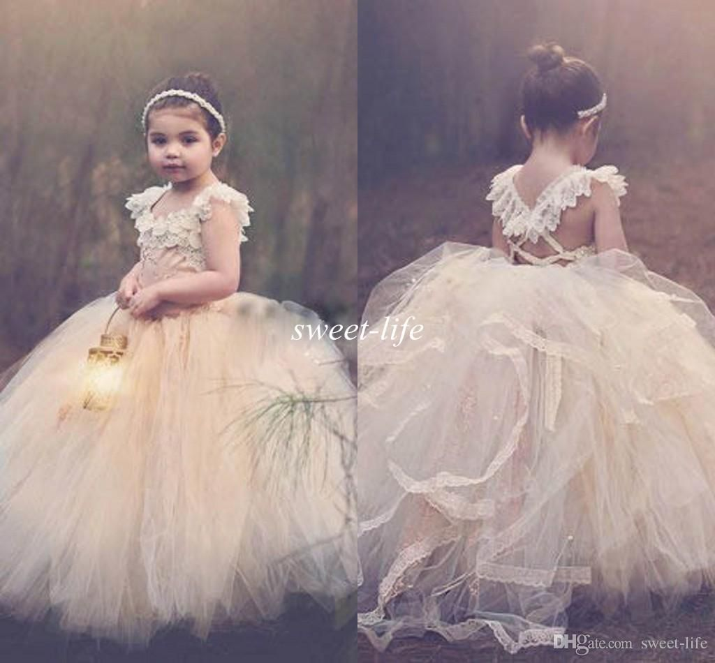 2015 ball gown lace flower girls dresses champagne tutu cheap 2015 ball gown lace flower girls dresses champagne tutu cheap strapless cap sleeve cross back puffy little girls kid first communion dresses online with izmirmasajfo