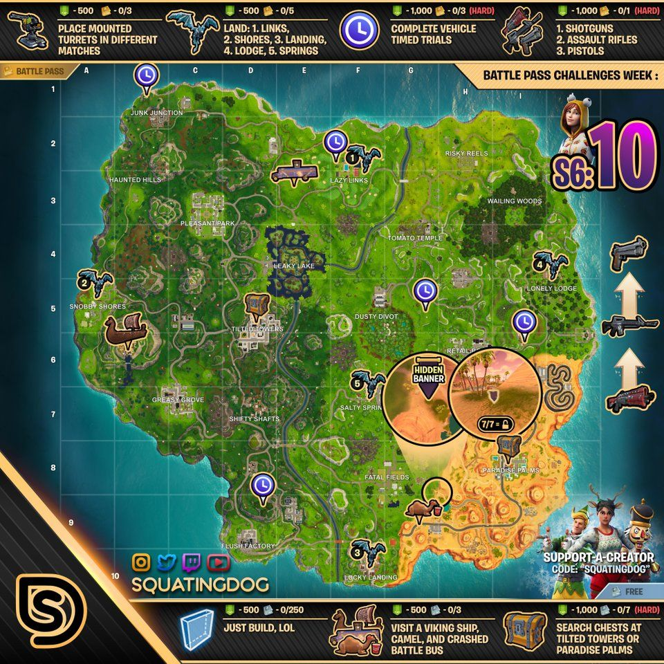 Fortnite Cheat Sheet Map For Season 6 Week 10 Challenges Fortnite