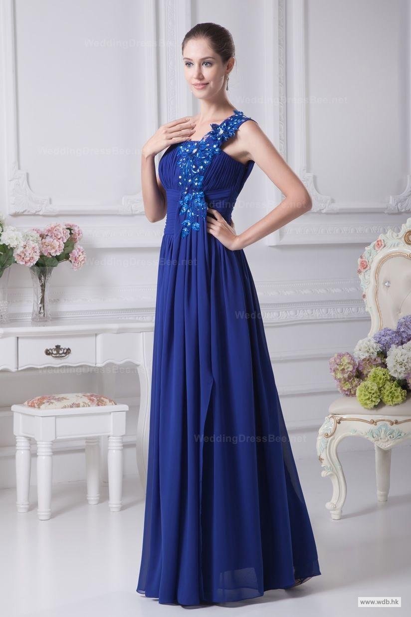 Beautiful one shoulder pleated empire waist chiffon floor length