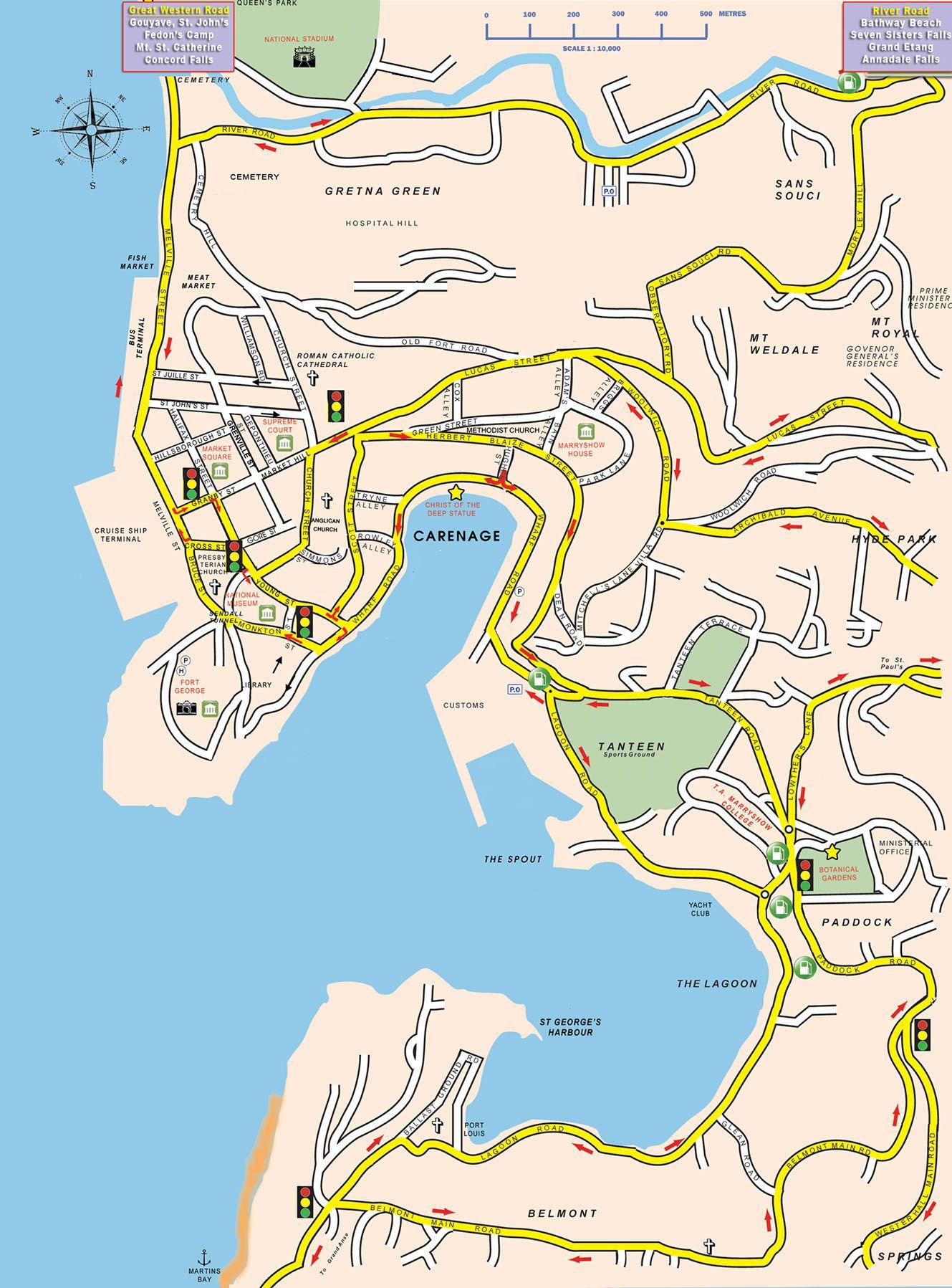 St George Map St George Grenada Grenada Pinterest