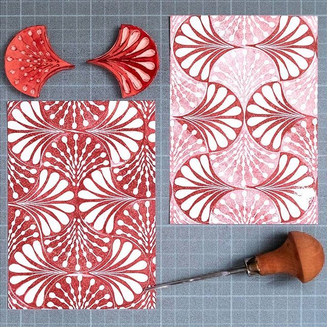 "Ali | Printmaker&Pattern Lover on Instagram: ""Finally, this is my final post for #carvedecember (at least for the 2018 series) ... Day 31, in combination with Day 30's stamp ...…"" #fabricstamping"