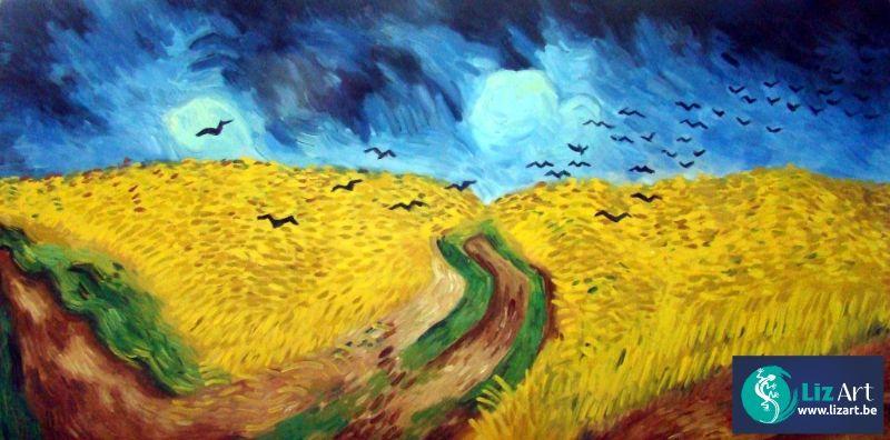 Reproductie Korenveld met kraaien van Vincent van Gogh