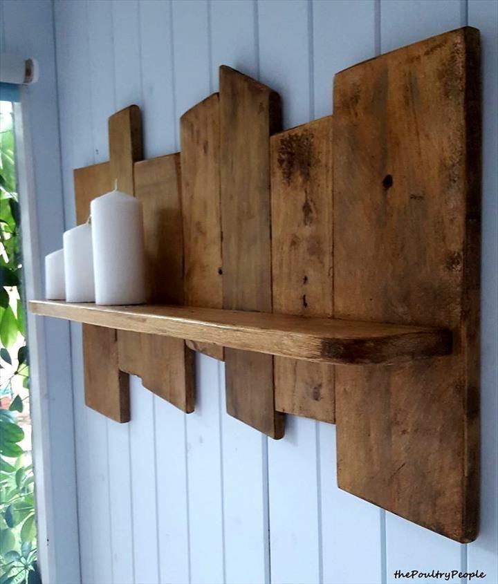 Antique Wooden Pallet Candle Shelf   Pallet shelves diy ...