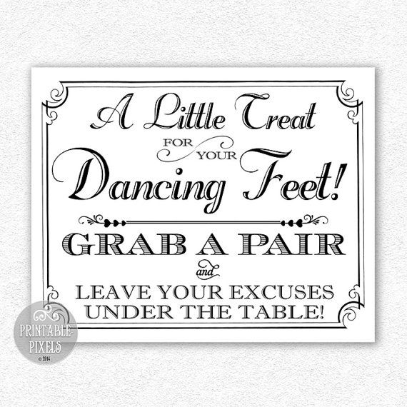 d8000bc86 Dancing Feet 8x10 Printable Wedding Sign Flip Flops Dancing Shoes Retro  Victorian Instant Download
