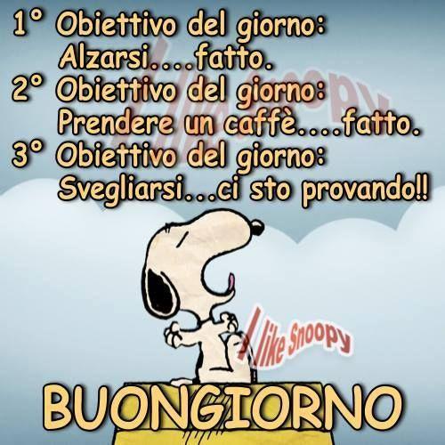 Snoopy obiettivi del giorno 11976 mafalda pinterest for Video divertenti del buongiorno