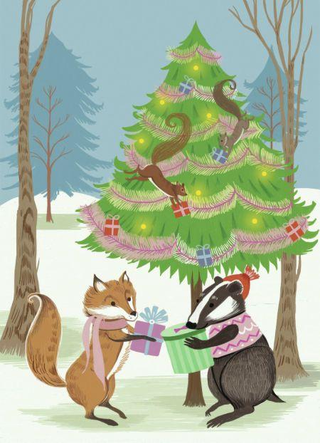 Pimlada Phuapradit - PimladaPhuapradit_Woodland_Animals_Fox_and_Badger_Card.jpg