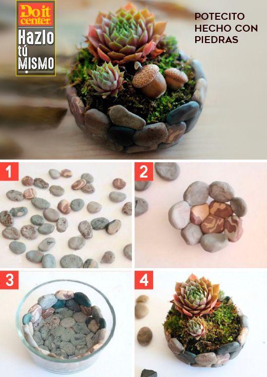 Piedras decorativas + goma + molde de vidrio = potecito decorativo. #HazloconDoit #HazlotuMismo #DoitCenter #gardencraft