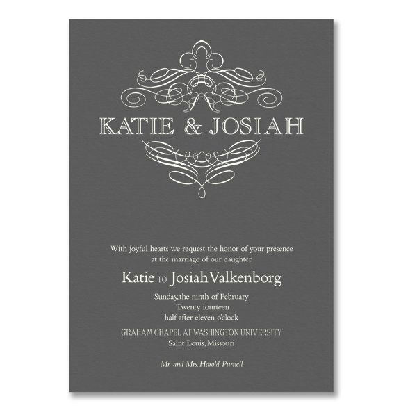 love this black and white invitation vera wang engraved calligraphic crest pewter wedding invitations - Vera Wang Wedding Invitations