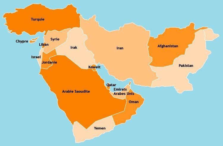 Moyen Orient Et Pays Limitrophes Geographie Moyen Orient Carte Moyen Orient Jordanie