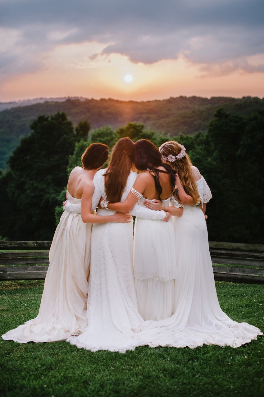 Bohemian bridesmaids in long ethereal white dresses photography