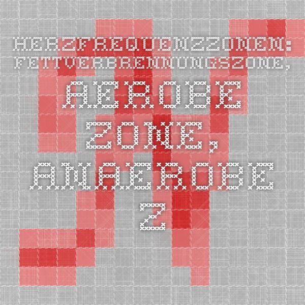 Herzfrequenzzonen Fettverbrennungszone Aerobe Zone Anaerobe