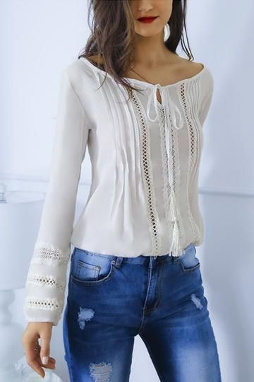 Round Neck Hollow Out Plain Blouses – ebuytide 3