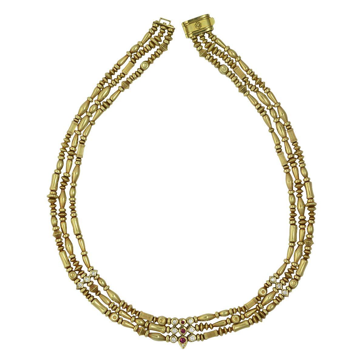 18K Gold 3 Strand Diamond & Ruby Seidengang Necklace, c. 2000. $9500