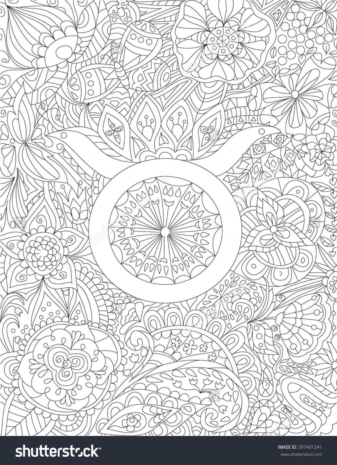 zodiac sign taurus floral geometric doodle pattern coloring page