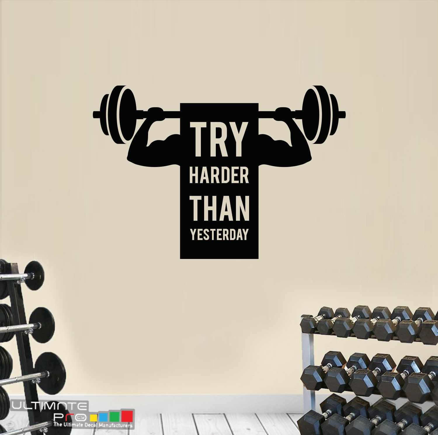 Quotes Wall Sticker Decal For Motivation Gym Decal Crossfit Workout Weight Lift Abs Modern Design Try Harde Wall Quotes Decals Wall Stickers Quotes Wall Quotes [ 1490 x 1500 Pixel ]