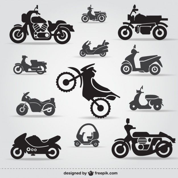 Motorcycle icons free Free Vector | Vector Graphics | Pinterest ...
